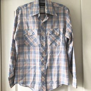 Other - Men's Vintage Western Plaid Button Down Shirt